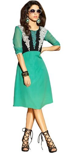 Enticing Georgette Embroidered Kurti (Turquoise Green)