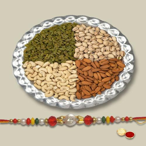 Lovely Rakhi With Mix Dry Fruits, Set Of Roli Chaval (Tilak)