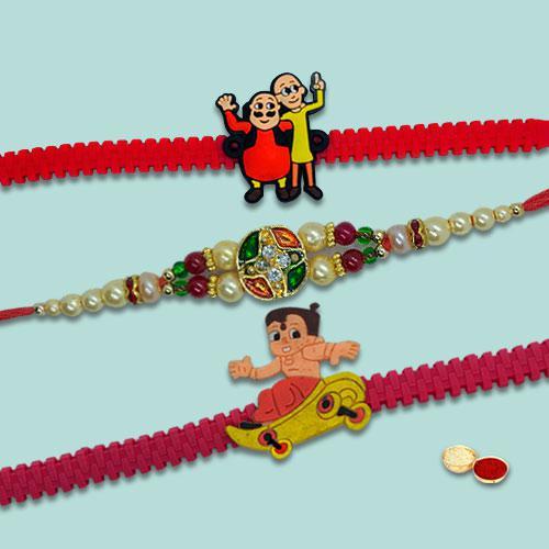 Notable Three Colorful Rakhi Set