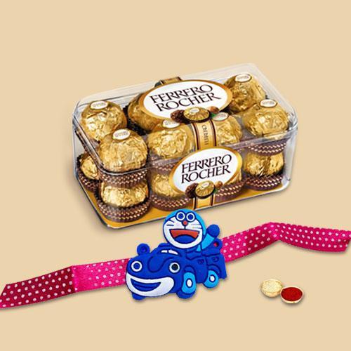 Irresistible Ferrero Rocher Chocolate Pack with Kids Delight Doraemon Rakhi