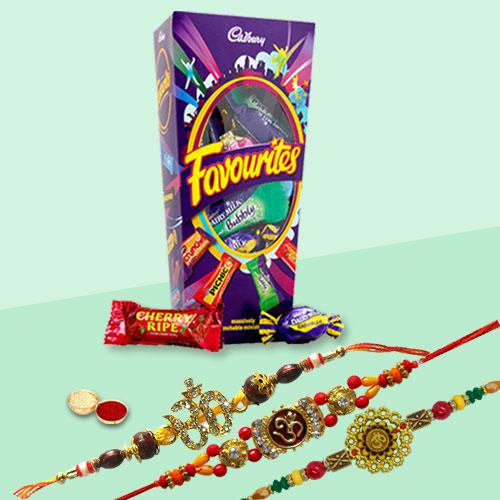 Auspicious Three Family Rakhi Set with Cadbury Favourite Chocolate Pack