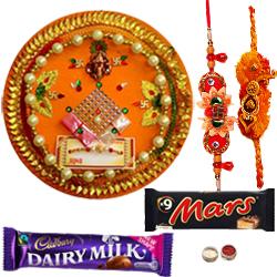Stunning Combo Of Bhaiya N Bhabhi Rakhi,  Cadbury N Mars Chocolate N  Rakhi Thali