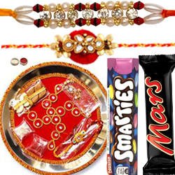 Charismatic Combo of 2 Rakhi, Rakhi Thali, Mars Chocolate N Smarties