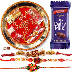 Glamorous Combo of 4 Bhaiya Rakhi With Rakhi Thali N Cadbury Chocolate