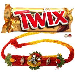 Captivating Single Rakhi With Twix