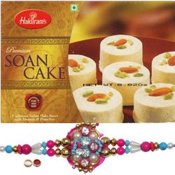Delicious Haldiram Soan Cake With lovely Rakhi