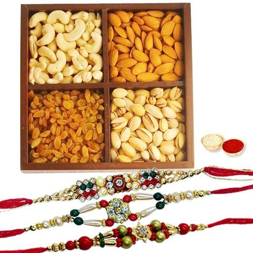 Attractive Pack of Mix Dry Fruits With 3 Fancy Rakhi