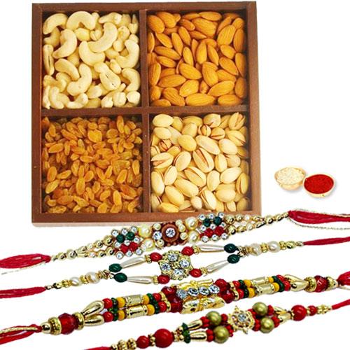 Arresting 4 Rakhis With Dry Fruits Mix
