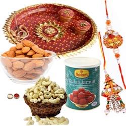 Captivating Combo Of Bhaiya Rakhi With Pooja Thali, Almond, Cashew And Haldiram Gulab Jamun
