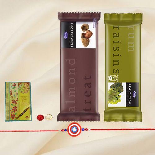 Lovely Cadburys Temptations with Free Kids Rakhi, Roli Tilak and Chawal