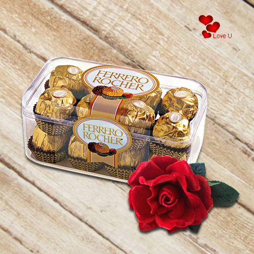 Online Gift of Ferrero Rocher with Red Velvet Rose
