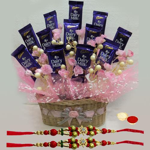 Sweet Memories Chocolates Gift Set with Free 2 Rakhis and Roli Tilak Chawal