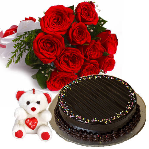 Online Red Roses Bouquet with Truffle Cake N Teddy