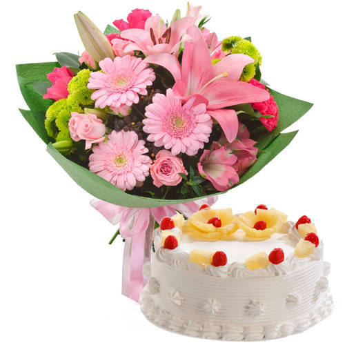 Buy Pineapple Cake N Mixed Flowers Bouquet Online