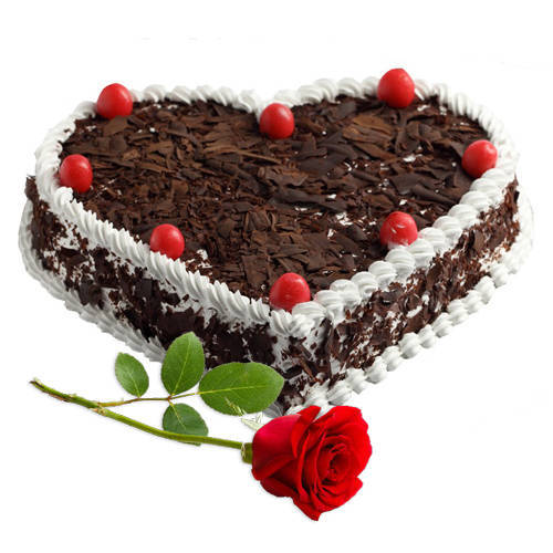 Shop Heart Shape Black Forest Cake with Single Rose