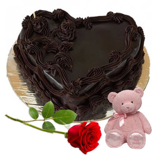 Online Combo of Heart-Shape Chocolate Cake with Teddy N Single Rose