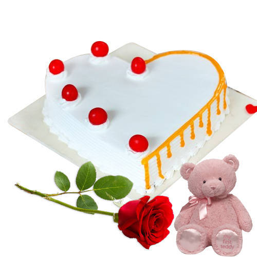 Shop Online Vanilla Cake in Heart Shape with Teddy & Red Rose