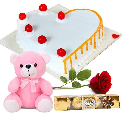 Online Deliver Vanilla Cake in Heart Shape with Single Rose, Teddy N Ferrero Rocher