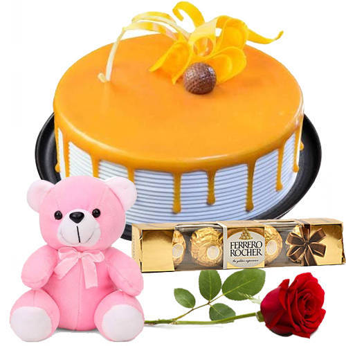 Send Eggless Butter Scotch Cake with Teddy, Red Rose N Ferrero Rocher Online