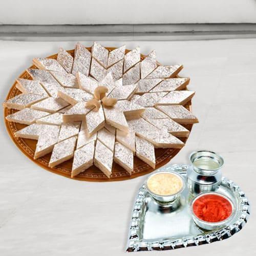 Silver Plated Paan Shaped Puja Aarti Thali (weight 52 gms) with Haldiram Kaju Katli