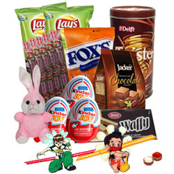 Comforting Snacks Hamper with 2 Kids Rakhi and Roli Tilak Chawal