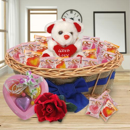Spectacular Combo of Teddy and Chocolates with 1 Velvet Rose and 3 pcs Heart Homemade Chocolate