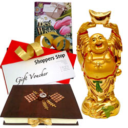 Smashing Gift Pack of Shoppers Stop Gift Vouchers, Laughing Buddha, Homemade Chocolates  N  a Free Best Wishes Card