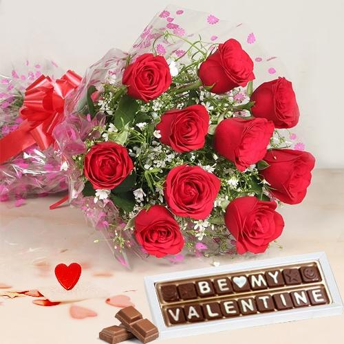 Delectable V-day Combo of Be My Valentine Chocolate N Roses Bouquet