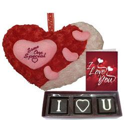 Lovely Gift Combo of I Love You Handmade Chocolate, Cute Heart Love N Love Card