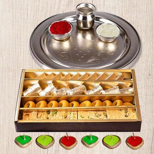 Silver Puja Thali, Diya N Haldirams Assorted Sweets.