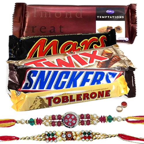 Delicous Chocolate Bars Hamper with 2 Designer Rakhi and Roli Tilak Chawal