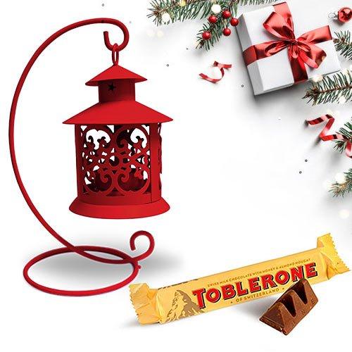 Fascinating Tea Light Decor N Toblerone Christmas Combo
