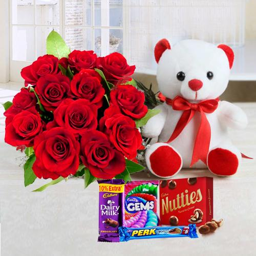 Send Red Roses Bouquet, Teddy N Mixed Cadbury Chocolate Online