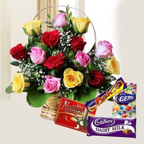 Order Mixed Roses n Assorted Cadbury Chocolates Online