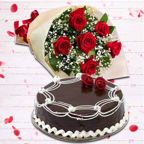 Buy Online Red Roses Bouquet N Chocolate Cake Online