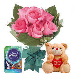 Order Online Trio Pack of Pink Roses Hand Bunch with Teddy N Cadbury Chocolates