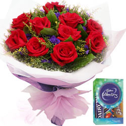 Deliver Gift of Red Roses Bouquet and Mini Cadbury Chocolates Pack  Online