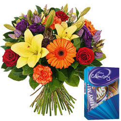 Order Bunch of Mixed Flowers with Cadbury Chocolates Pack Online
