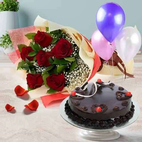 Order Online Truffle Cake with Red Roses Bunch N Balloons