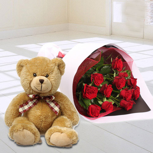 Deliver Red Roses Bunch N Teddy Online