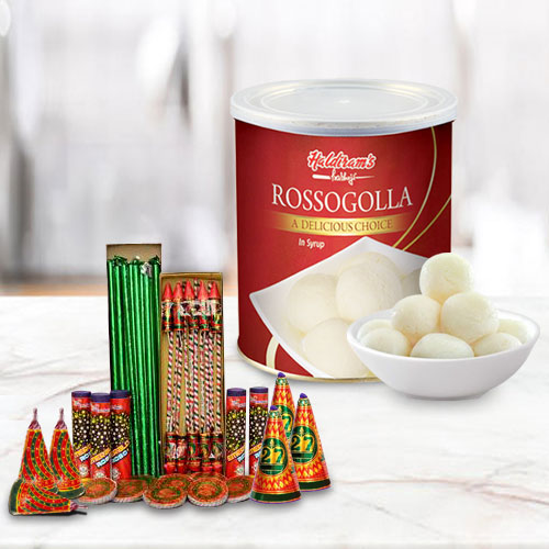 Spectacular Cradle of Haldiram Rasgulla with Crackers