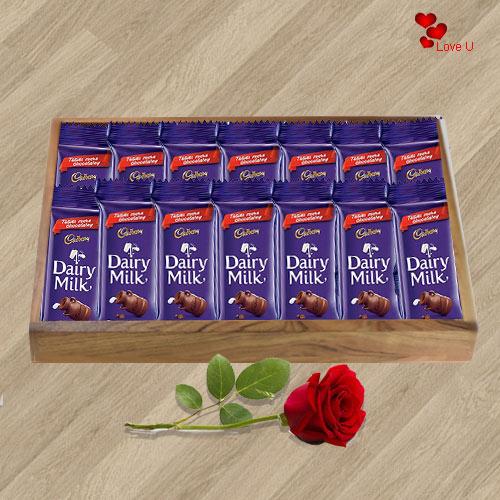 Send Red Rose N Dairy Milk Chocolates Online