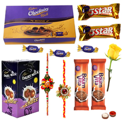 Cadbury�s Assorted Chocolates with 2 Rakhi with One Yellow Rose