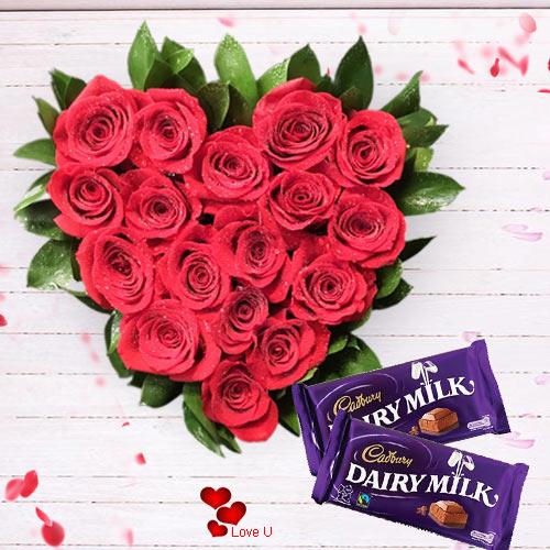 Shop for Heart Shape Rose Arrangement N Dairy Milk Online