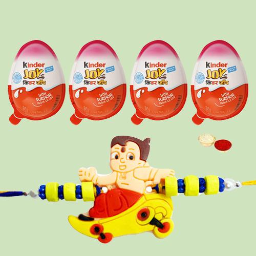 4 Kinder Joy Chocolates with 1 Rakhi