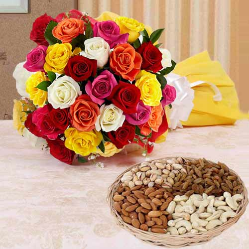 Buy Dry Fruits N Colorful Roses Online