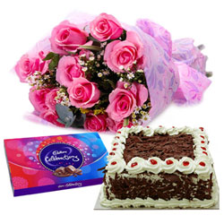 Online Gift Combo of Cake, Roses and Cadbury Celebration