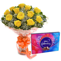 Deliver Combo Gift of Yellow Rose Bouquet N Cadbury Celebration Online