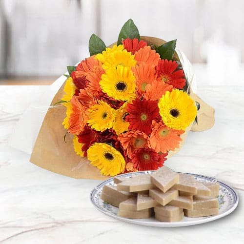 Online Order of Mixed Gerbera Arrangement with Kaju Katli