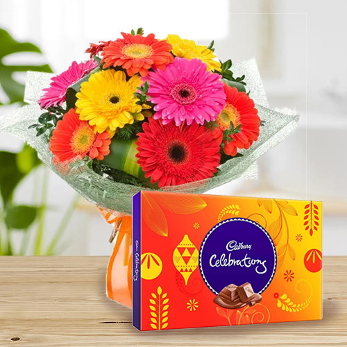 Gift Combo of Mixed Gerbera Bouquet and Cadbury Celebration Online